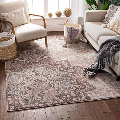 Stella Lavender Vintage Shiraz Medallion Modern 5×7 5'3″ x 7'3″ Area Rug Purple Distressed Oriental Carpet