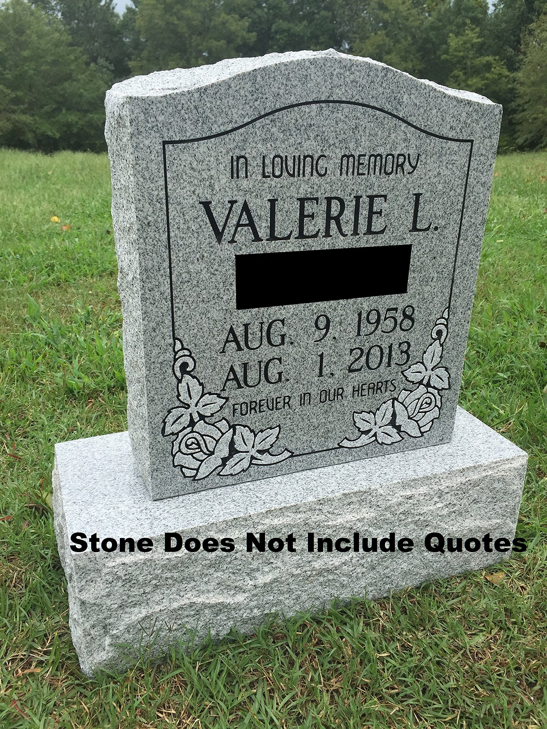 Upstate Stone Works Granite Memorial Headstone Die and Base (5 Designs) by Upstate Stone Works