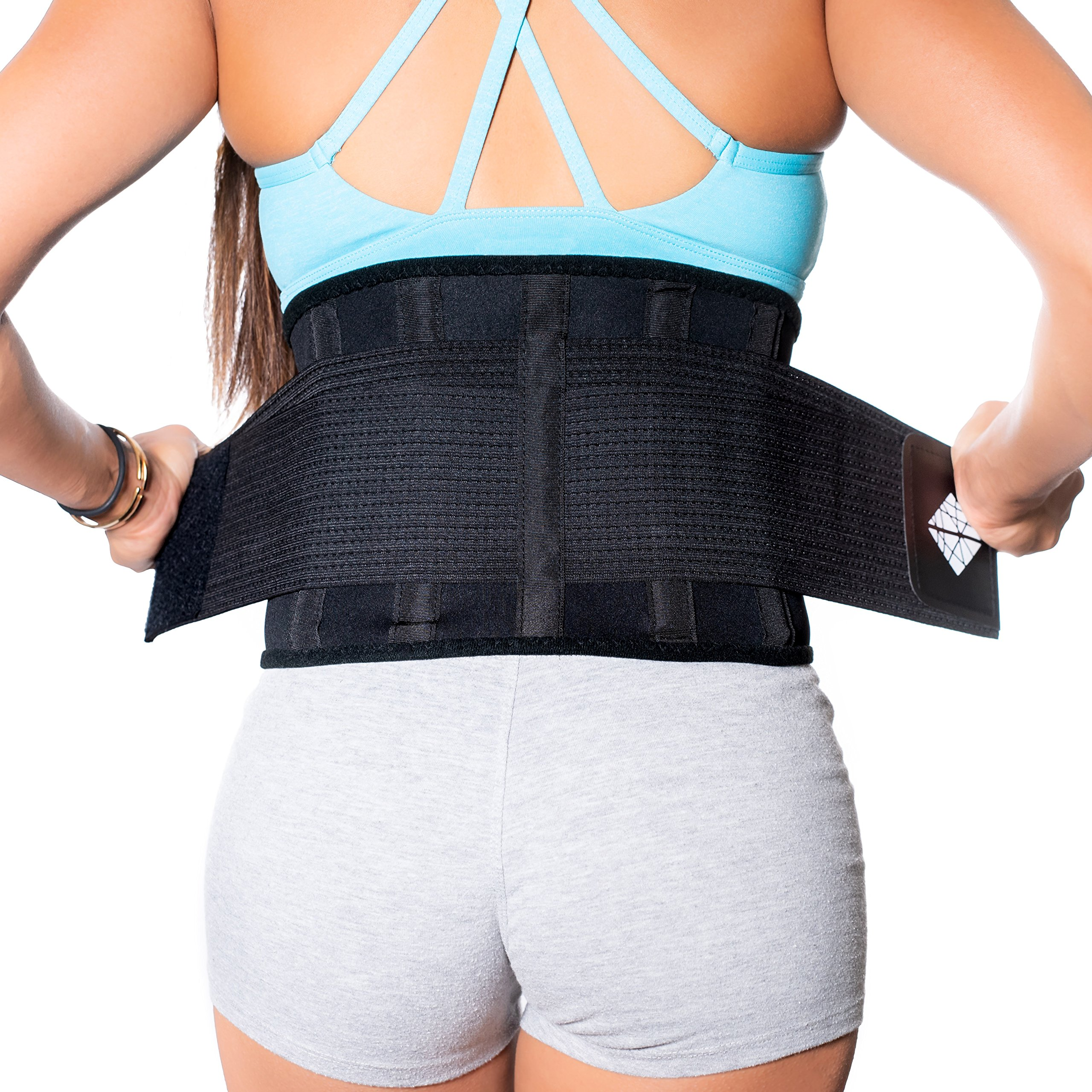 Lower Back Brace | Lumbar Support | Wrap for Posture Recovery, Workout, Herniated Disc Pain Relief | Waist Trimmer Weight Loss Ab Belt | Exercise Adjustable | Breathable | Women & Men | Black XL by NeoHealth