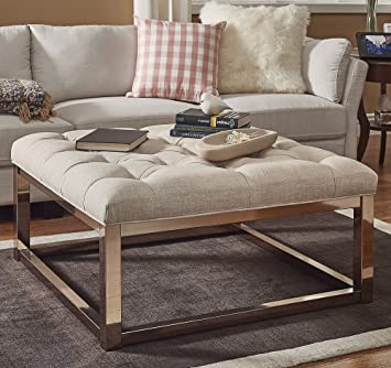 Amazon Com Luxurious Ottoman Coffee Table Button Tufted Top Gold
