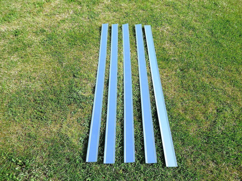 5 Schneckenschutzbleche für ein MSL Hochbeet aus verzinktem Stahlblech.