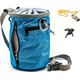 b:kazz - Chalk Bag with Belt - For Climbing, Gymnastics, Weightlifting - with Emergency Whistle and Bottle Holder - Free eBook