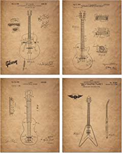 Gibson Guitar Patent Prints - Set of 4 (8 inches x 10 inches) Photos - Les Paul Vintage Decor
