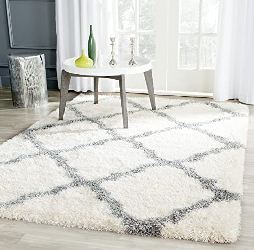 Safavieh Montreal Shag Collection SGM866B Ivory and Grey Area Rug 4 x 6