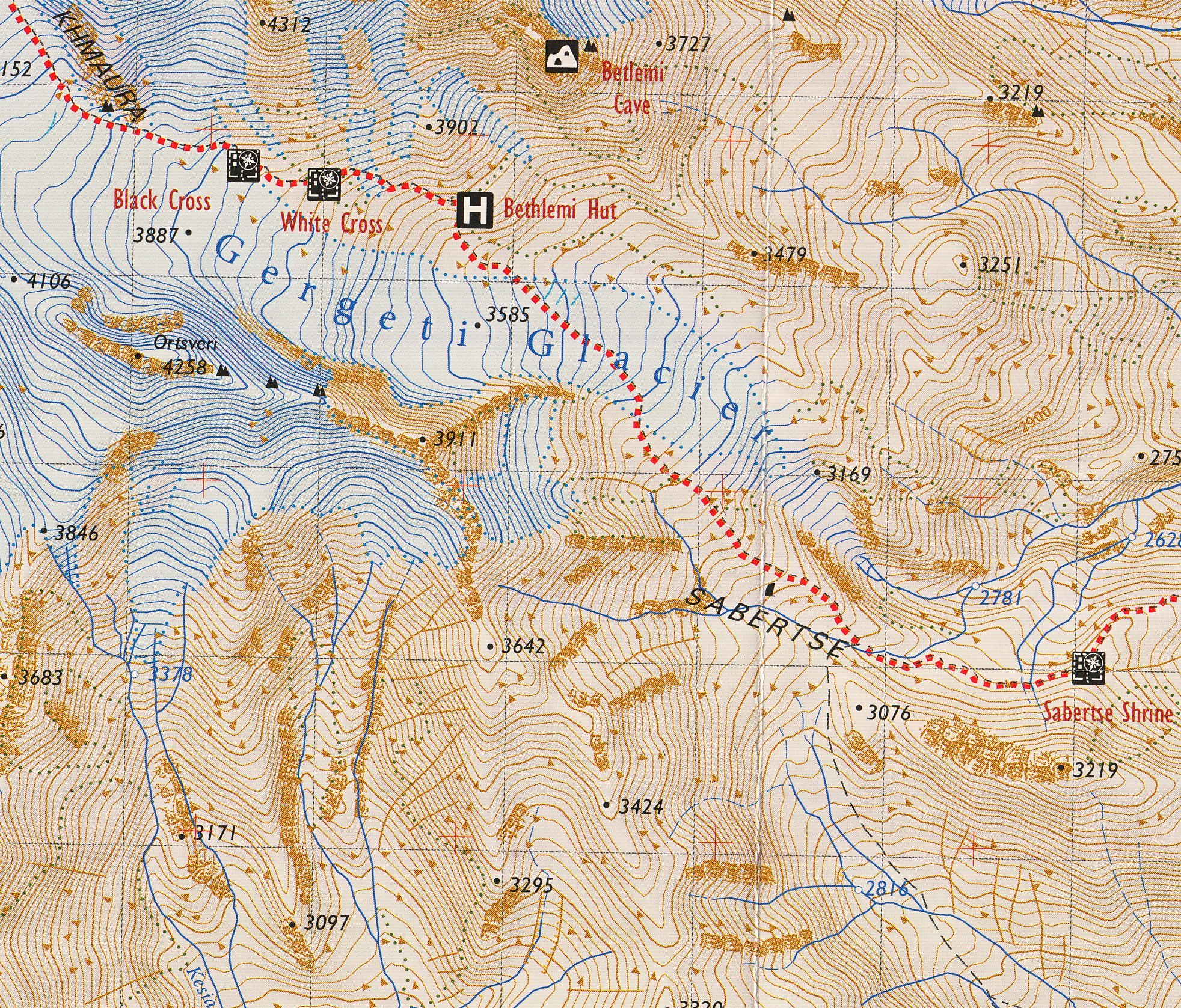 Khevi Mt Kazbegi Gudauri Truso Trekking Map Georgia - Georgia kazbegi map