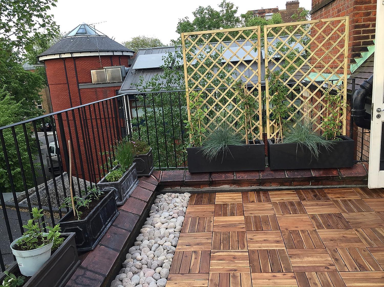 jacuzzi 30/cm carr/é Deck pour carrelage 72/x Dalles /à embo/îter en bois dacacia pour terrasse balcon 4/Lattes Dalles pour terrasse jardin