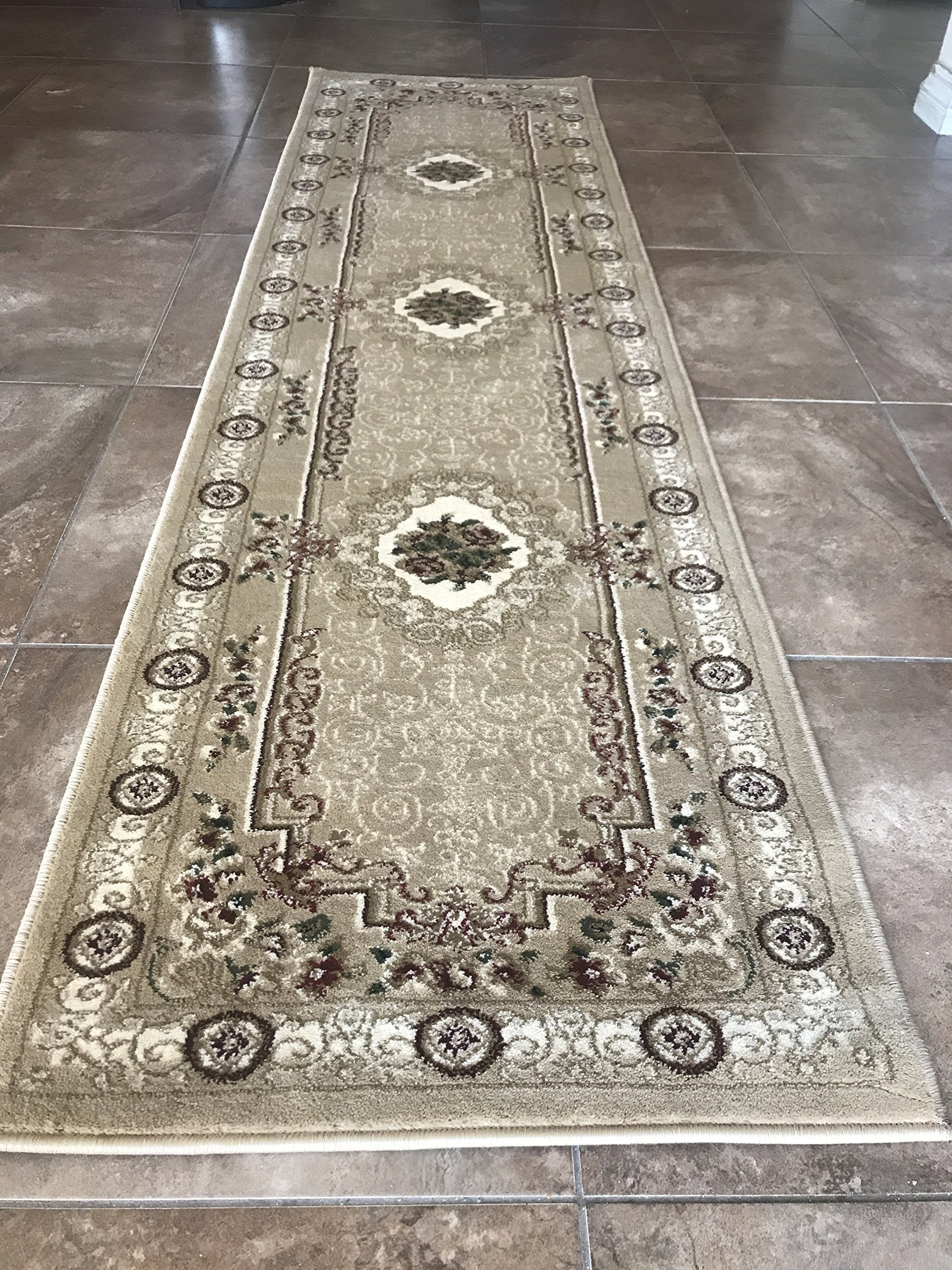 Traditional Runner 500,000 Point Persian Floral Aubusson Beige Green & Burgundy Area Rug Design 403 (2 Feet X 7 Feet 3 Inch) - Traditional Runner Floral Aubusson Area Rug Beige ( 2 Feet X 7 Feet 3 Inch) Quality,high density (500,000 point) ,green,burgundy and beige. Easy to clean (stain resistant and soil proof)and very durable. - runner-rugs, entryway-furniture-decor, entryway-laundry-room - A1EoyKuxdCL -