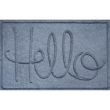 Bungalow Flooring Waterhog Hello Design Doormat, 2' x 3', Indoor/Outdoor, Made in USA, Skid Resistant, Easy to Clean, Catches Water and Debris, Bluestone