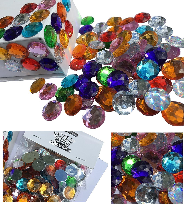 Crystal King - Lote de piedras brillantes, acrílicas, 16 mm, 100 unidades, diversos usos, multicolor, brillantes, transparentes