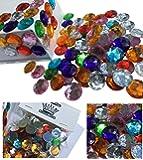 100 Stück 16mm große glitzernde bunte Runde Steinchen Deko Strass SteineBekleben Strasssteine Acrylsteine transparent klar kristall basteln Gltzersteine Strass Steine zum Verzieren von CRYSTAL KING