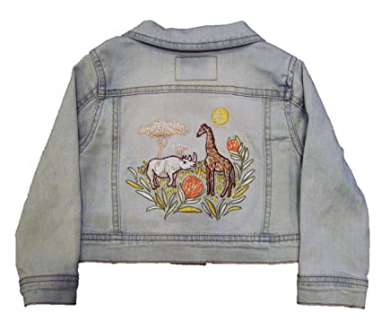 500e5bf6fed OshKosh Genuine Kids Baby Toddler Girls  Blue Denim Jacket with Safari  Animals (2T