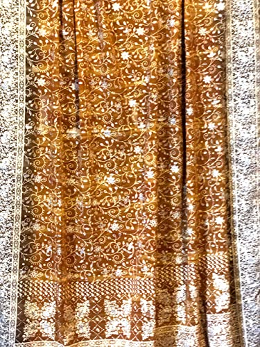 Gold Amber Honey Sari Curtain Light Boho Window Treatment 108 96 84 inch for Bedroom Living room Dining room Studio Canopy Bed Tent Hippie Gypsy Bohemian Chic Bright Color HomeDecor W Gift bag