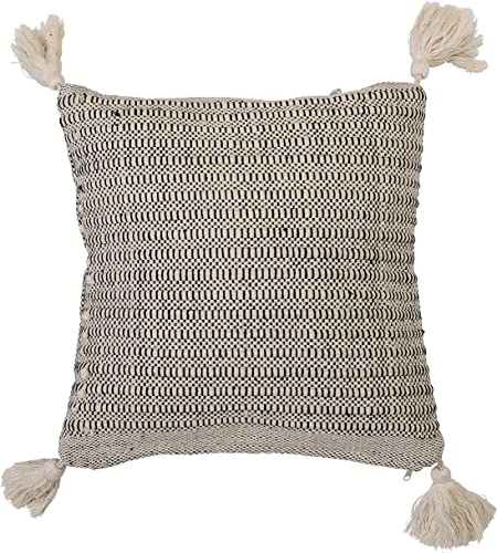 Bloomingville A14208522 Beige Square Cotton Pillow with Corner Tassels