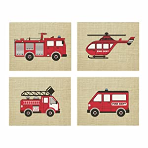 "Artdash exclusive Boy's Bedroom Art Prints: FIRE TRUCKS & Burlap (DR071) (8""×10"")"