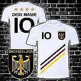 ElevenSports Deutschland Trikot mit GRATIS Wunschname + Nummer + Wappen Typ #D 2018 günstig im EM/WM Weiss - Geschenke für Kinder,Jungen,Baby. Fußball T-Shirt personalisiert