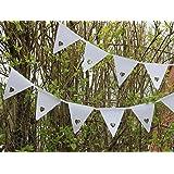 Flyingstart - Festone con bandierine e intaglio a cuoricini, per matrimoni, feste, battesimi e altre occasioni speciali, colore: Bianco