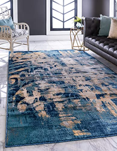 Unique Loom Mystic Collection Abstract Calligraphy Vintage Navy Blue Area Rug 9 0 x 12 0