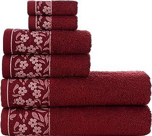 6Pcs 100% Turkish Cotton Set - Perfect Towel Decor for Bathroom, Kitchen,Home, Gym, Hotel & Spa - Includes 2 Bath Towels 27 x 56 - 2 Hand Towels 19 x 32 - 2 Wash Cloths 12 x 12 - Red Floral Trim