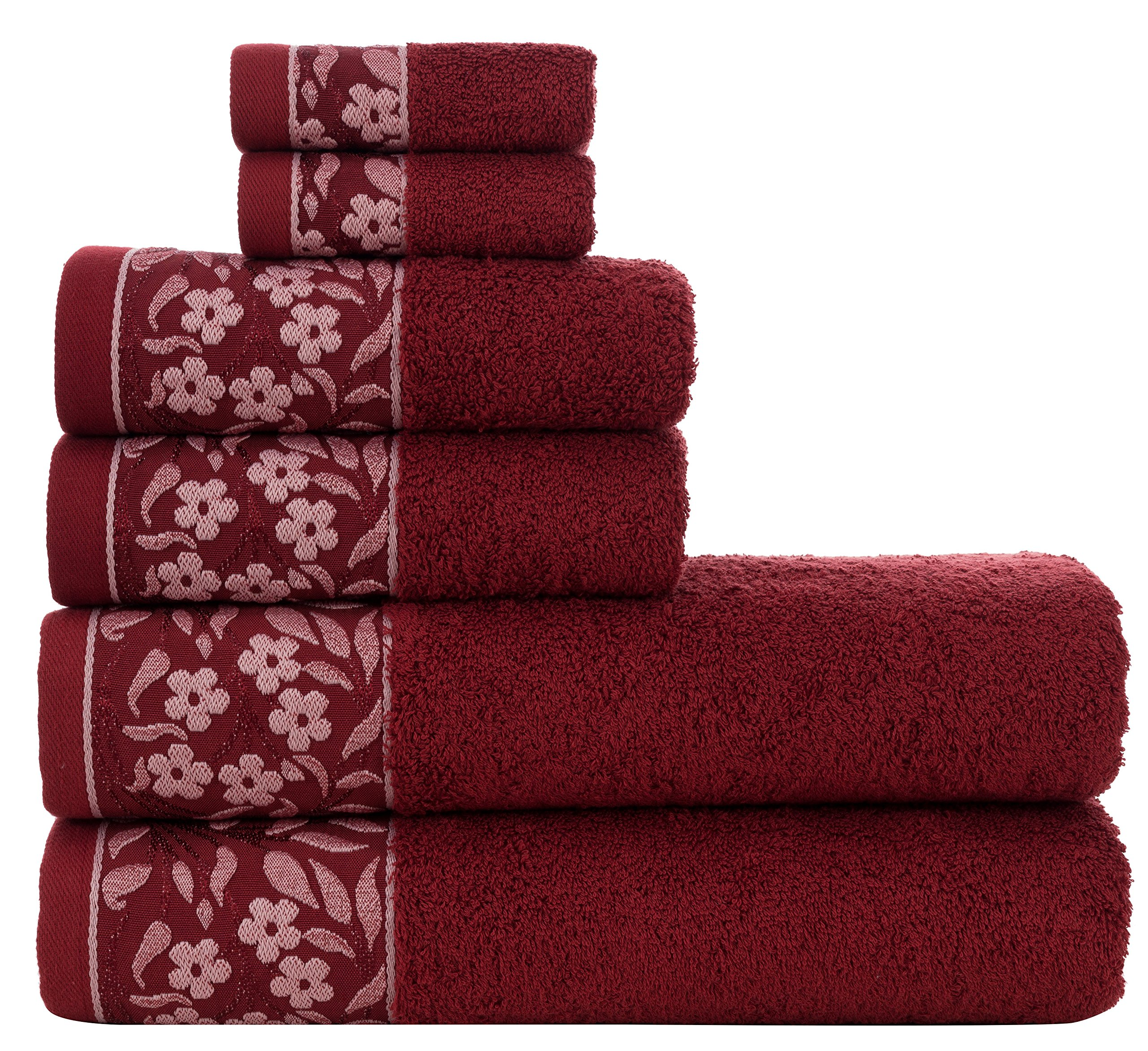 HYGGE Premium 100% Turkish Cotton Towel Set with Floral Jacquard; 2 Bath Towels (27'' x 56''); 2 Hand Towels (19'' x 32''); 2 Washcloths (12'' x 12'') (Claret Red) by HYGGE