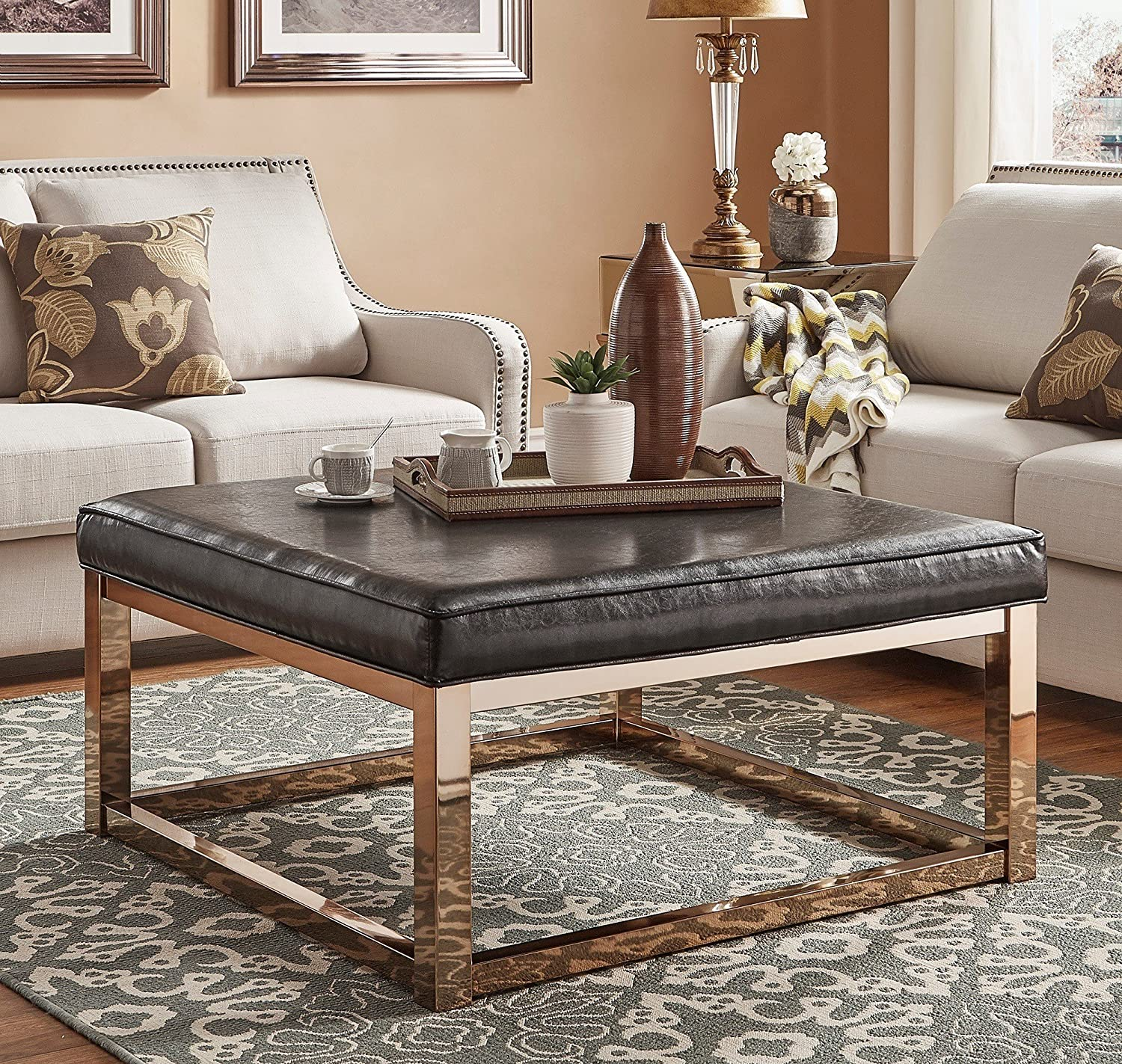 - Amazon.com: Luxurious Ottoman Coffee Table Smooth Faux Leather Top