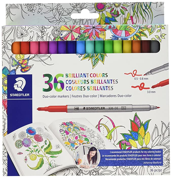 Amazon.com: Staedtler Duo color Markers (320C36JBLU) 36 pc.: Office ...