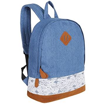 88603a8914e Amazon.com   Girls 14-Inch Dark Blue Denim Backpack with Lace Overlay   Faux  Suede Bottom   Kids  Backpacks