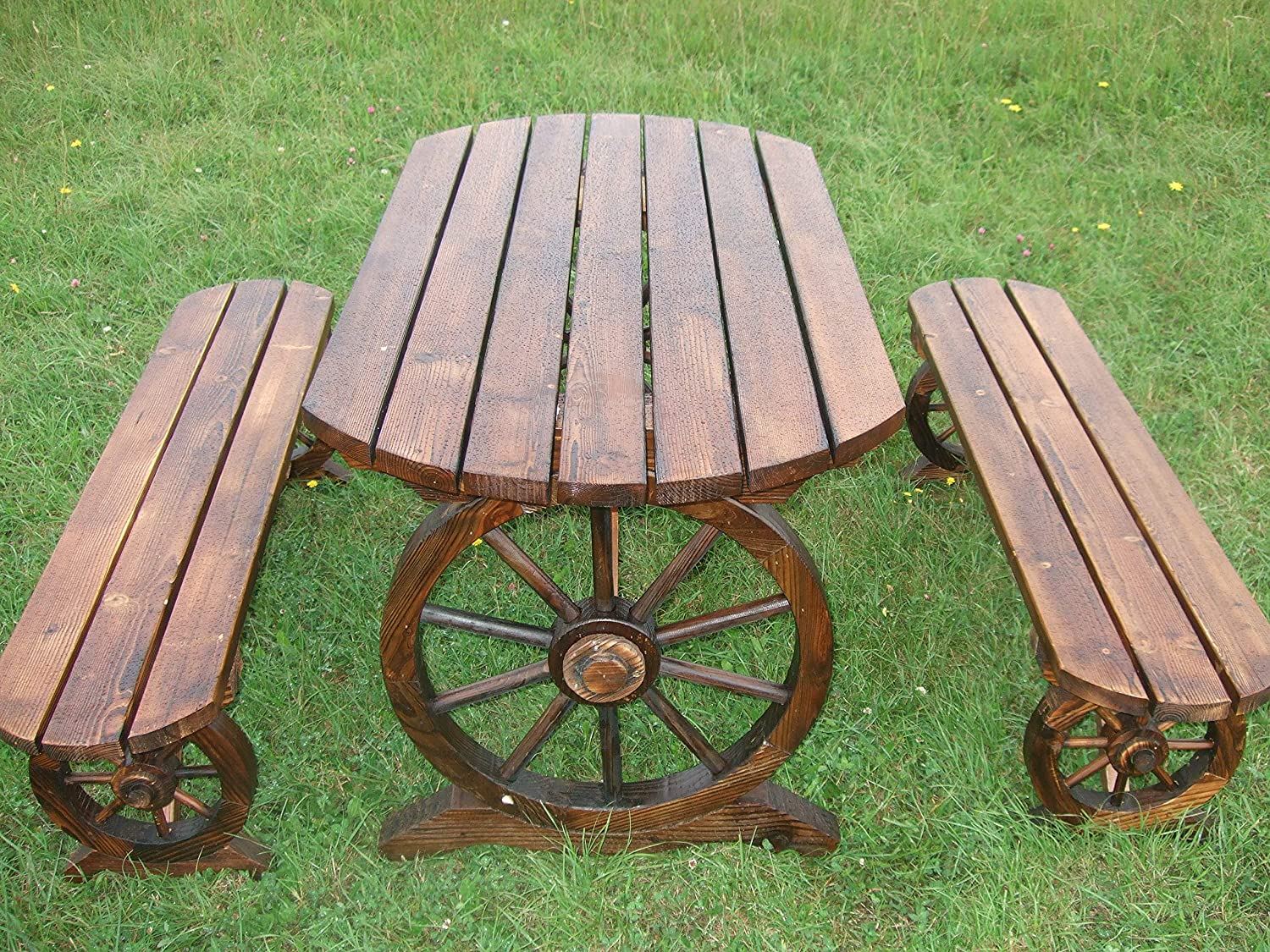 square top New hand made WAGON WHEEL BENCH SET.picnic garden patio table seat