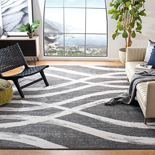 Safavieh Adirondack Collection ADR125R Charcoal and Ivory Modern Area Rug 4 x 6