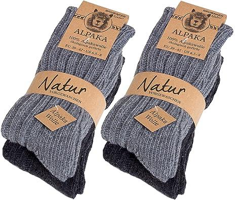 Brubaker 4 pares de calcetines para mujer de pura lana de alpaca naturales y grises: Amazon.es: Ropa y accesorios