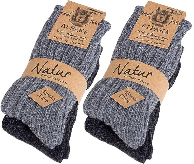 Brubaker 4 pares de calcetines hombre de pura lana de alpaca - grises - tamaño 35