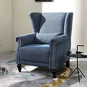 LOKATSE HOME Arm Fabric Chair Modern Single Sofa for Living Room, Blue Pattern