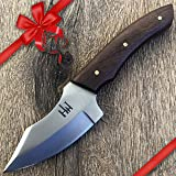 Hobby Hut HH-904 , 420C Stainless Steel 7.5 inch Fixed Blade Hunting Knife with Leather Sheath , Walnut wood Handle , Designe