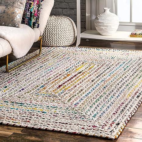 Amazon Com Nuloom Tammara Boho Cotton Hand Braided Area Rug 5 X 8 Ivory Furniture Decor