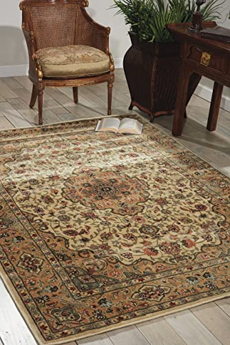 Nourison Persian Arts Ivory Gold Rectangle Area Rug, 2-Feet by 3-Feet 6-Inches 2 x 3 6