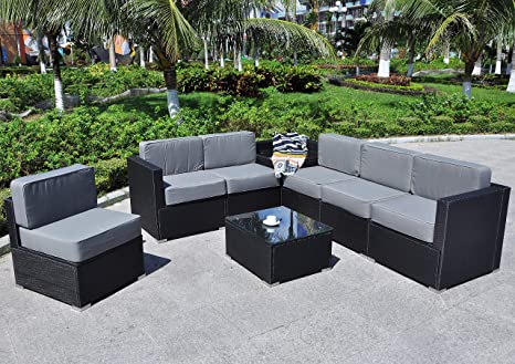 Magnificent Mcombo Patio Furniture Sectional Set Outdoor Wicker Sofa Lawn Rattan Conversation Chair With 6 Inch Cushions And Tea Table Gray 6082 8Pc Machost Co Dining Chair Design Ideas Machostcouk