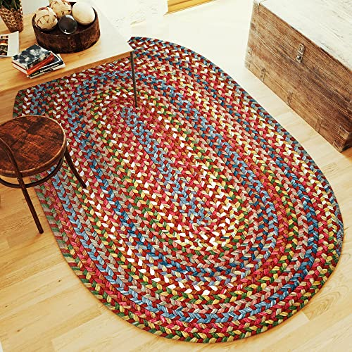 Super Area Rugs Gemstone Bohemian Braided Rug Indoor Outdoor Rug Durable Red Extra Strong Kitchen Carpet