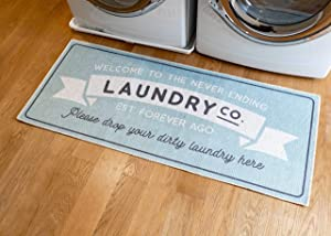 Benissimo Laundry Room Rug, Non Skid Rubber Area Rugs, Cotton, Durable, Machine Washable, Runner Floor Mat for Washroom, Bathroom, Mudroom, Kitchen Decor, 24x56-NEEN