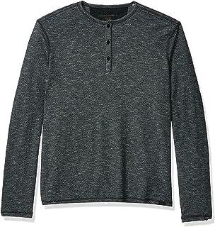 John Varvatos Star USA Men/'s Long Sleeve 4 Snap Melange Henley Shirt Black