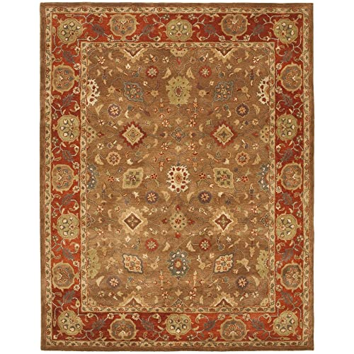 Safavieh Heritage Collection HG952A Handcrafted Traditional Oriental Moss and Rust Wool Area Rug 4 x 6
