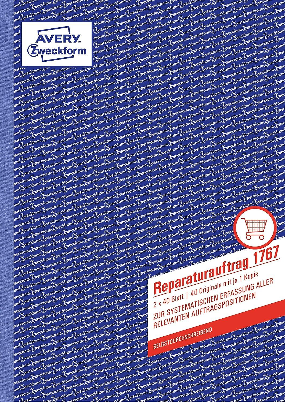 Avery Zweckform ordre de r/éparation SD 2/x 40/feuilles 1/ère et 2/ème feuilles de Imprim/é DIN A4