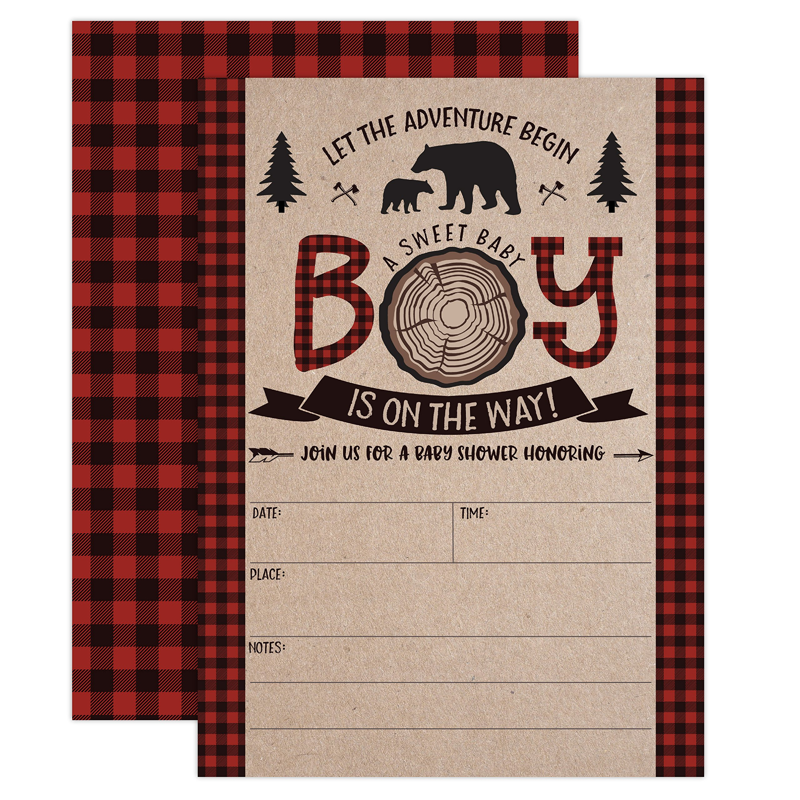 Lumberjack Baby Shower Invitations, Boy Baby Shower Invitations, Mama Bear Baby Shower Invites, Woodland Baby Shower Invitations, 20 Fill in Invitations and Envelopes