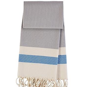 ANATURES Hamptons Grey/Royal blue - toalla de hammam toalla de bano toalla de playa toalla de baño Toalla turco Pestemal Fouta Peshtemal: Amazon.es: Hogar