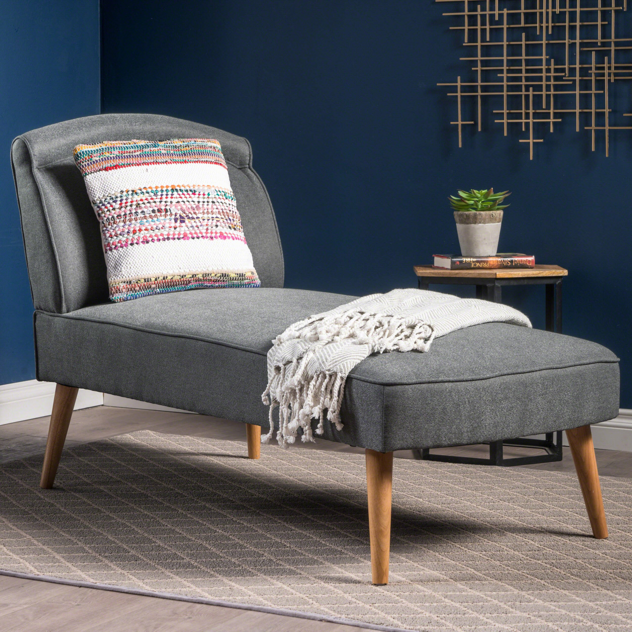 Jolie Mid Century Modern Slate Grey Fabric Chaise Lounge by Christopher Knight Home