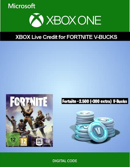 xbox live credit for fortnite 2 500 v bucks 300 extra v bucks xbox one download code amazon co uk pc video games - fortnite v buck list