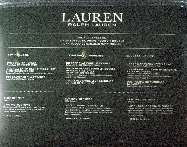 Amazon.com: Ralph Lauren 4 Piece Full Sheet Set Blue Ink Paisley on White background: Home & Kitchen