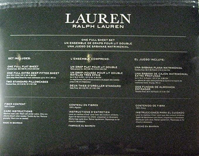 Amazon.com: Ralph Lauren 4 Piece Full Sheet Set Blue Ink Paisley on White background: Home & Kitchen