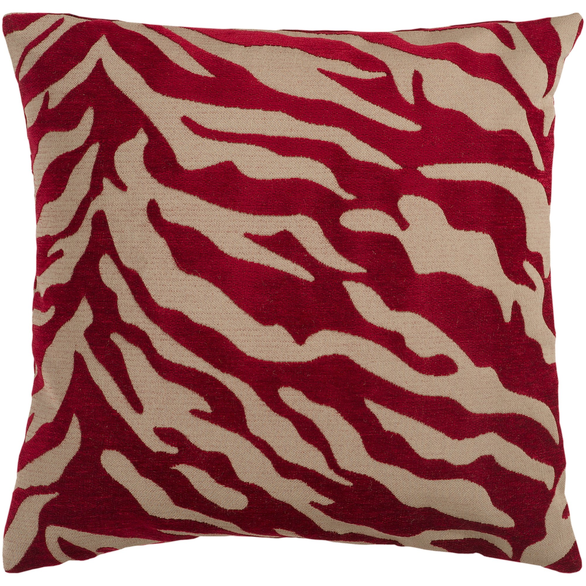 Surya JS-026 Contemporary Hand Crafted 100% Poly Red 18'' x 18'' Animal Decorative Pillow