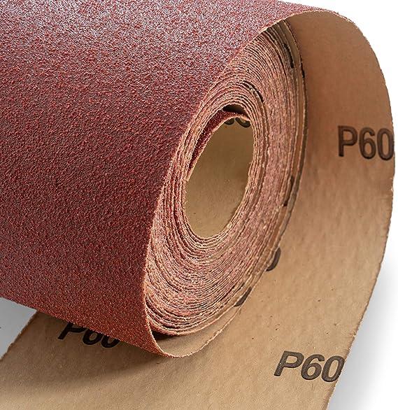 K/örnung 60 1 m L/änge, 95 mm Breite Holz Schleifen f/ür Metall Schmirgeltuch-Rolle Schleifpapier-Rolle handgedreht Glas flexibel weich