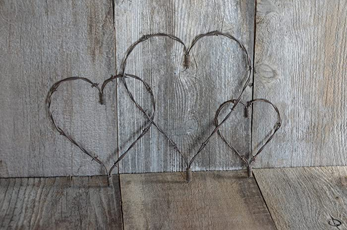 Large Medium Small Set Of Three Rustic Heart Barbed Wire
