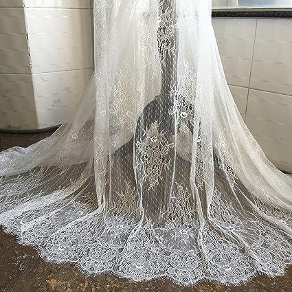 Amazoncom 3 Meters Off White Eyelash Lace Fabric Chantilly
